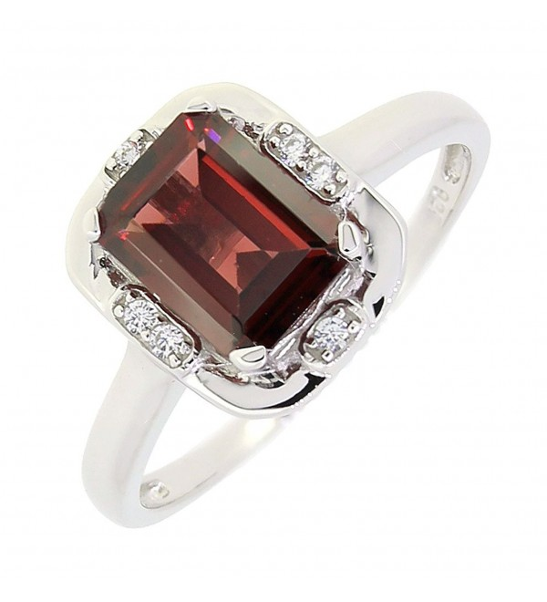 Vintage Style Sterling Silver Emerald Cut Genuine Mozambique Garnet Ring (1.7 CT.T.W) - CC11NX7I2RH