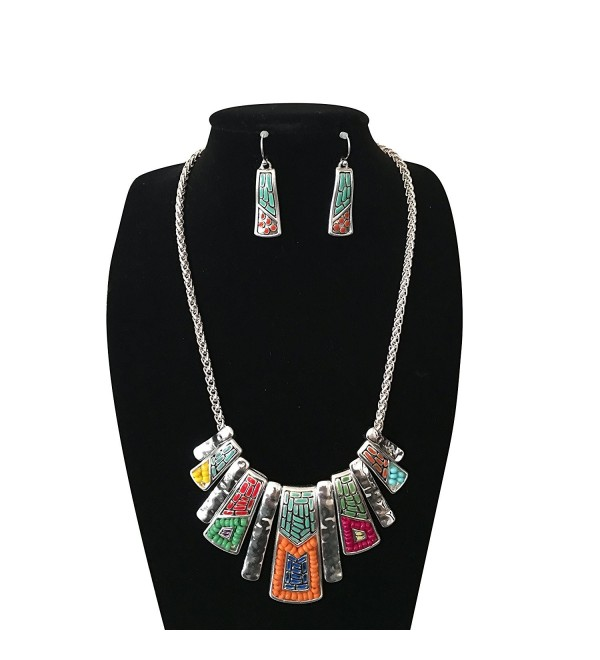 Mosaic Design Tribal Native American Style Southwest Silver Turquoise Orange Seed Bead Bib Necklace - CM17YE8ISQ7