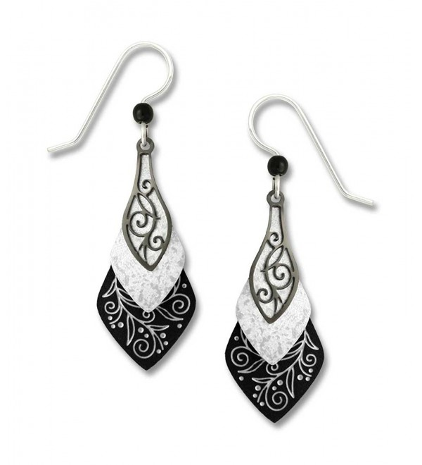 Adajio by Sienna Sky Black White 3-part Necktie Earrings 7374 - CZ11E5EUGLH