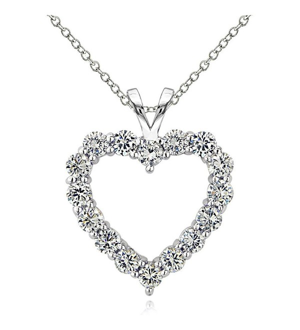 Sterling Silver Cubic Zirconia Open Heart Necklace - Sterling Silver - C512MAT5DFV