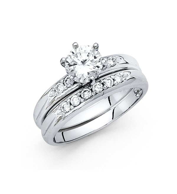 Wellingsale Ladies 925 Sterling Silver Polished Rhodium Engagement Ring and Wedding Band 2 Piece Set - C6127DQVQ1H