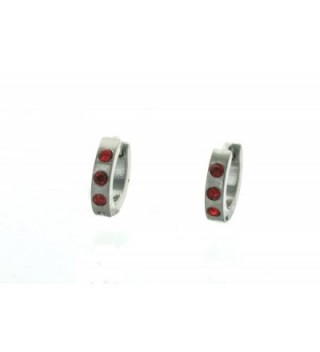 "0.50"" Inch Silver Tone Huggie Hoop Earrings with Small Red Stones - C2128ZCFMAN"