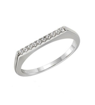 Sterling Silver Stackable Fashion Jewelry Cubic Zirconia Ring - Silver- Black or Gold Plated - sterling-silver - CF129CIZEJJ