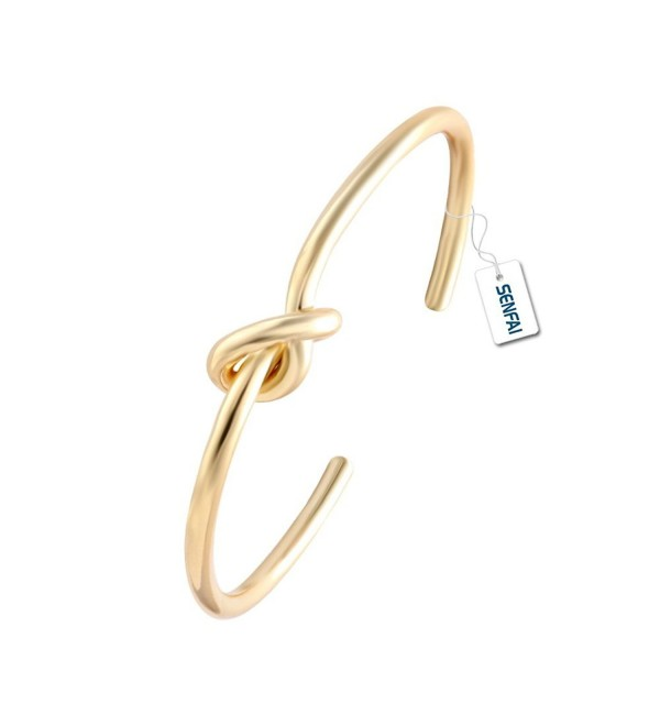 SENFAI Love Tie the Knot Simple Cuff Bracelet Bangles Gold Silver Rose Gold Easy Adjustable - CN12GRG8XW9