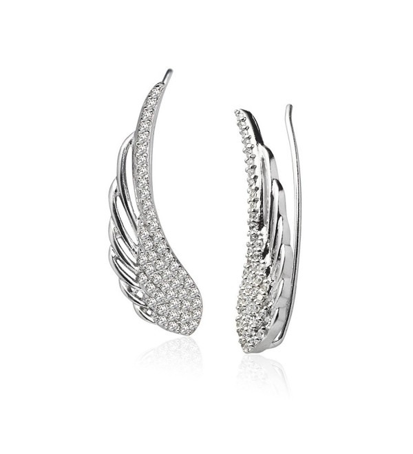 LOVVE Sterling Silver Cubic Zirconia Angel Wings Ear Cuff Crawler Climber Hook Earrings- 3 Options - C0185C6CTZT