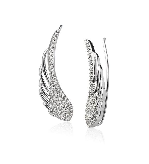 LOVVE Sterling Silver Cubic Zirconia Angel Wings Ear Cuff Crawler Climber Hook Earrings- 3 Options - C0185C6CTZT