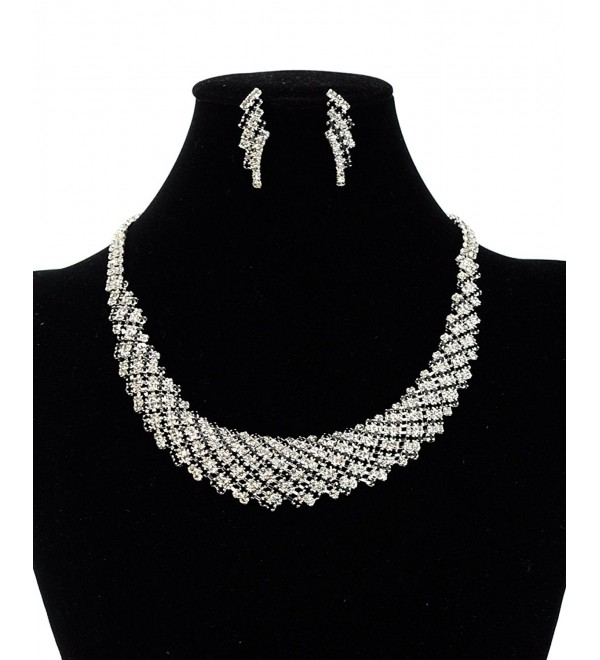 Clear & Black Rhinestone Stud Round Collar Evening Necklace and Stud Earrings Set in Silver-Tone - C3128PEJEFV