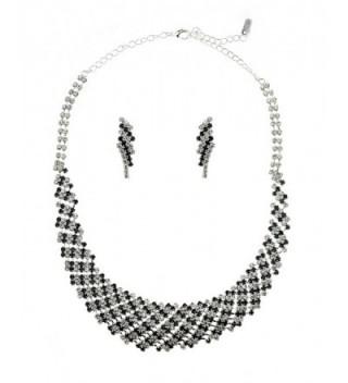 Rhinestone Evening Necklace Earrings Silver Tone