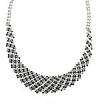 Rhinestone Evening Necklace Earrings Silver Tone in Women's Jewelry Sets