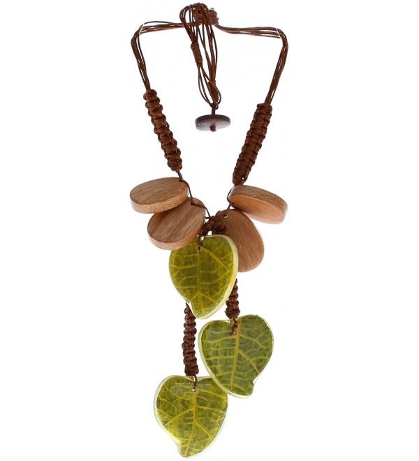 "Royal Diamond 16"" Green Leaf & Brown Wood grain Choker Necklace - CN11DH02PRX"