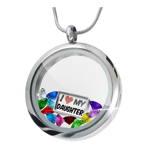 Floating Locket Set I Love my Daughter + 12 Crystals + Charm- Neonblond - CQ11I4Q2Z8J