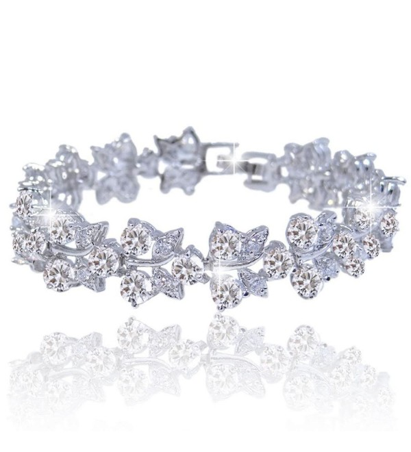 EVER FAITH Bridal Silver-Tone Butterfly Zircon Tennis Bracelet - CK11HAE452T