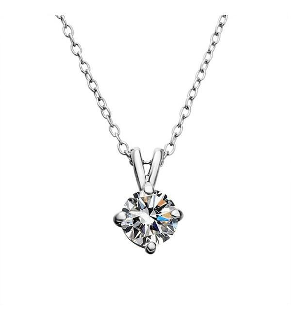 Elegant Zirconia Solitaire Pendant Necklace - Silver - CN12LYDLZ8T