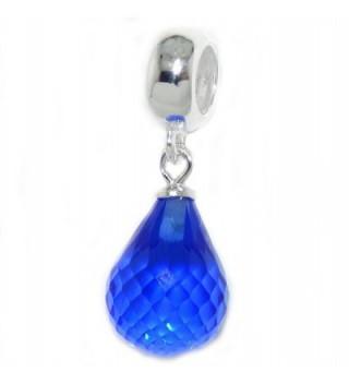 "Solid 925 Sterling Silver Dangling ""Teardrop Crystal"" Charm Bead - CC17X0HC6YR"