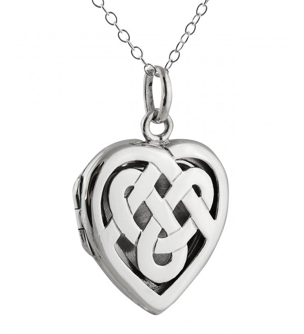 Sterling Silver Celtic Knot Heart Photo Locket Necklace- 18 Inch Chain - CU12FIHLRIP