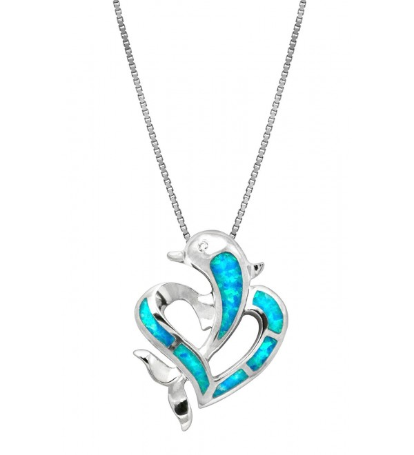 "Sterling Silver Dolphin Heart CZ Necklace Pendant with Simulated Blue Opal and 18"" Box Chain - CX119BOTREN"