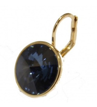 Swarovski Elements Navy Blue Bella Dangle Earrings Gold Plated Earrings with Leverback Closure - CV12CYV473F