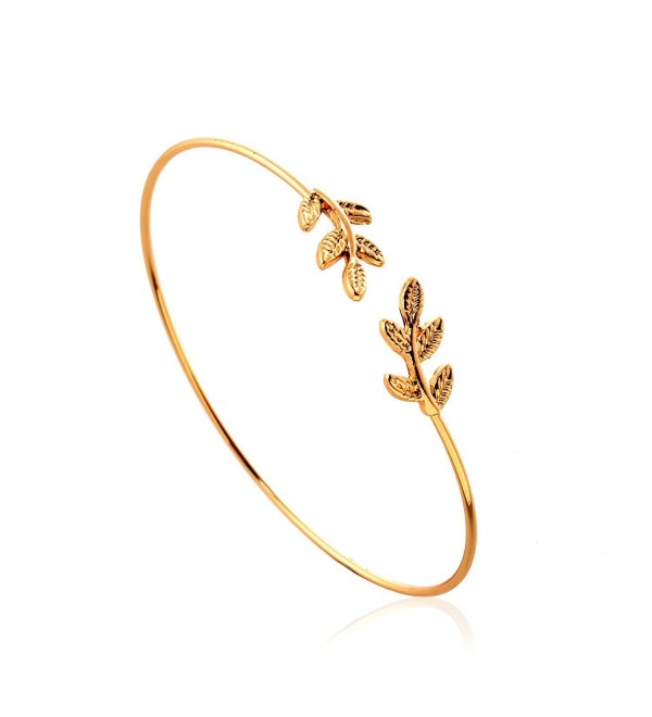 lureme Fashion New Style Simple Leaf with Crystal Cuff Bangle (06002667) - CO12B1PAEC7