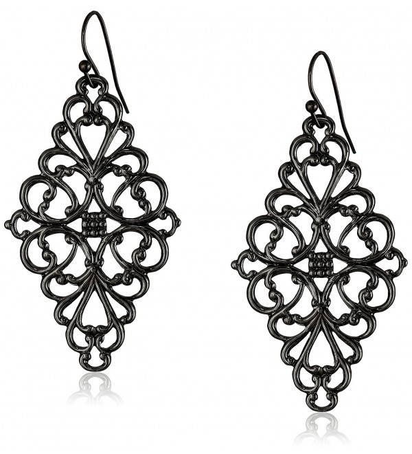 1928 Jewelry Filigree Diamond-Shape Drop Earrings - Black-Tone - C711NHGRZGD