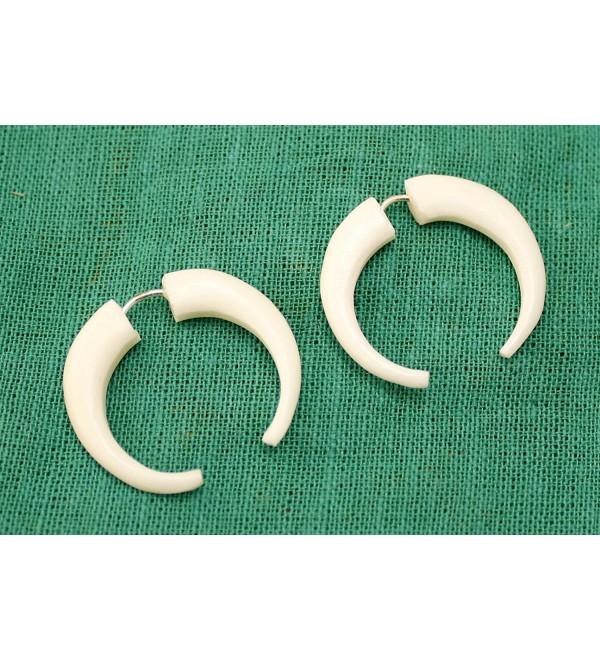 A Pair of White Natural Tribal Yak Bone Boho Hippie Earrings - CA11B298I3L
