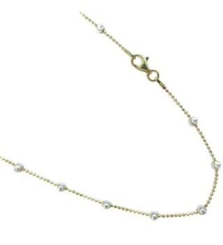 Gold Plated Over Sterling Silver Two-tone Colored Vermeil Italian Necklace. 16-18-20-24 Inches - C911U6HVRX3