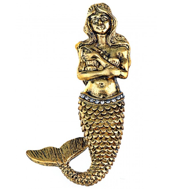 Alilang Golden Tone Vintage Fantasy Mermaid Siren Princess Fish Tail Brooch Pin - CE1138HHRY1
