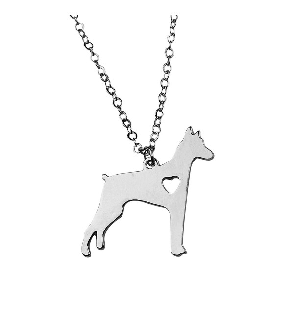 Art Attack Silvertone I Love My Dog Lover Heart Outline Doberman Pinscher Pincher Puppy Rescue Necklace - CJ185Z88GUT