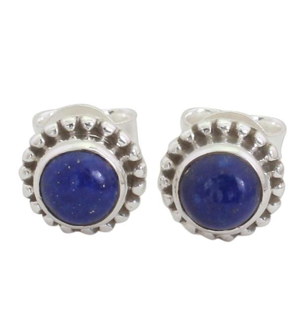 NOVICA Lapis lazuli .925 Sterling Silver Stud Earrings 'Blue Globe' - CV17YE6TU2E
