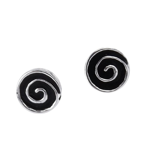 Hypnotic Swirls Black Enamel Swirl .925 Sterling Silver Stud Earrings - C4121MUT1MB
