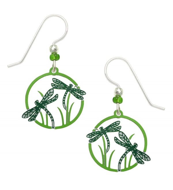 Sienna Sky Dragonflies Hand Painted Earrings in Teal Black and Green with Gift Box Made in USA - C212NZTHA8Q