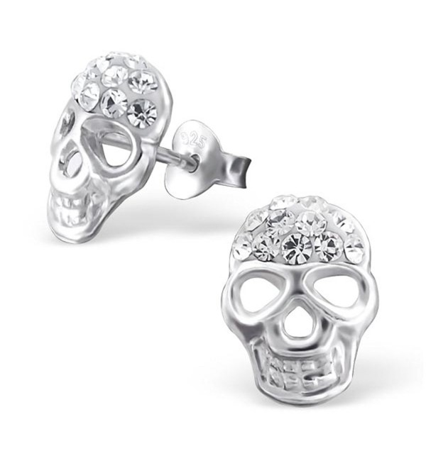 Sterling Silver Skull Studs Earrings with Crystal (E20376) - CX126XL6UZP