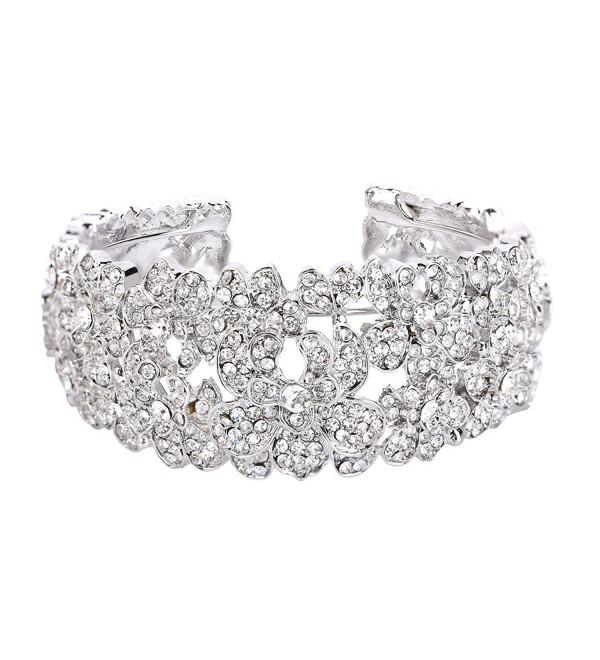 BriLove Women's Bohemian Boho Crystal Flower Hollow Cluster Beaded Bangle Bracelet - CG182AQNA75