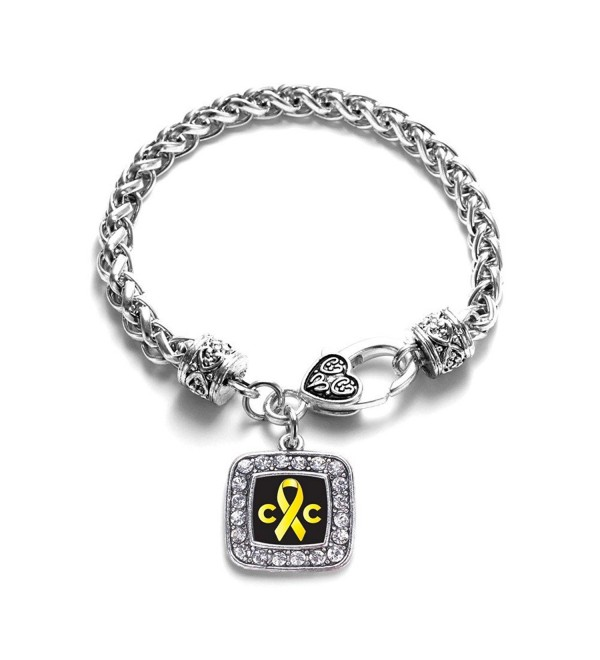 Childhood Cancer Awareness Classic Silver Plated Square Crystal Charm Bracelet - C111K6N6IVX