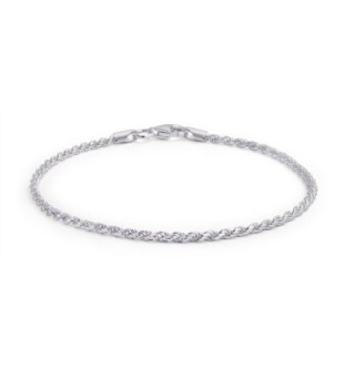 Bling Jewelry 925 Sterling Silver Rope Chain Anklet Italy - CC115UI1891