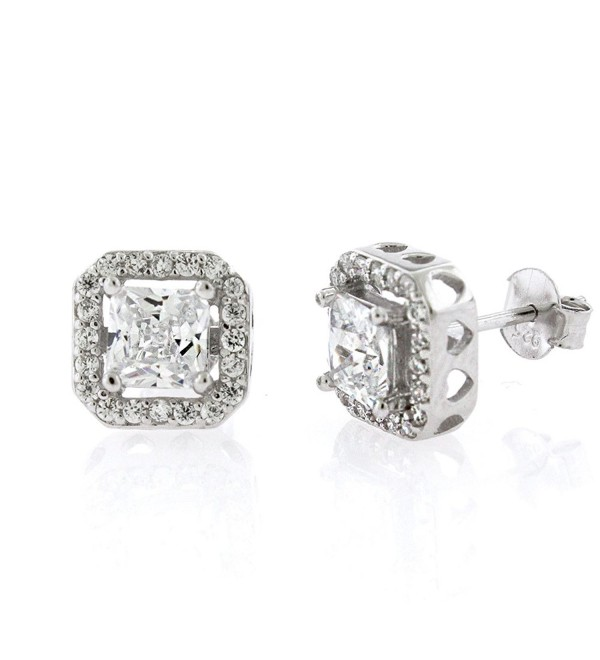 .925 Sterling Silver Womens Floating Princess Cut Cubic Zirconia Stud Earrings - CZ12979NZXZ