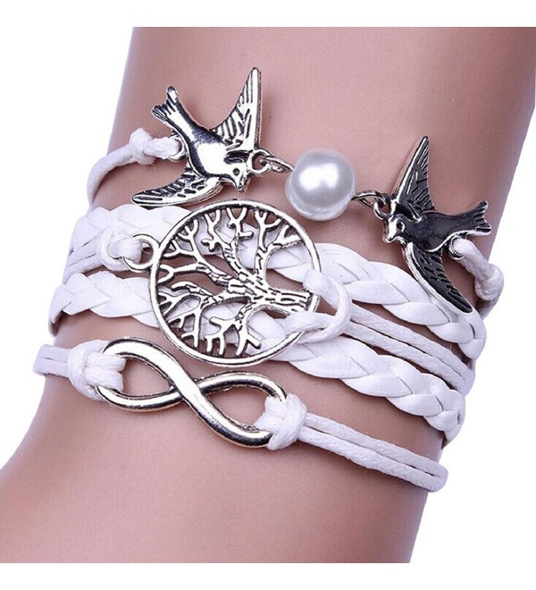 SusenstoneInfinity Handmade Adjustable Pigeon Leather Multilayer Bracelet - C4125LCFXIR