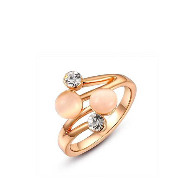 Suyi Alloy White-Gold Plated Double Opals Ring with Czech Diamond + Opal - alloy rose-gold plated - CW125PVJ3BR