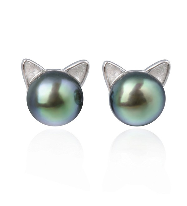 S.Leaf Cat Ear Stud Earrings Sterling Silver Black Freshwater Pearl Ear Studs - C012O6E88S1