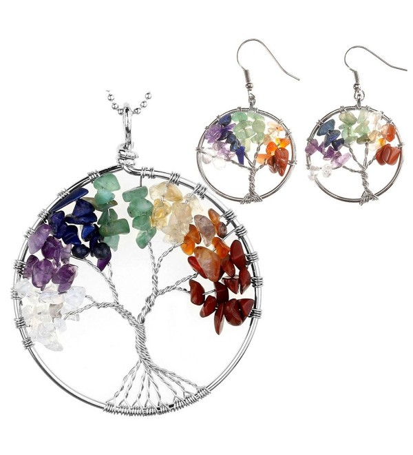 JOVIVI 7 Chakras Healing Crystal Quartz Tree of Life Necklace & Earrings Jewelry Set-Mothers Day Gifts - Set 1 - C8182XOYUI3