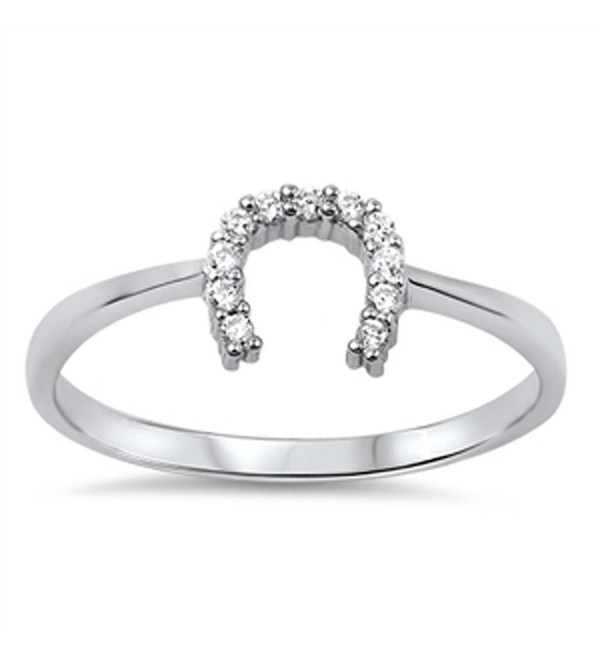 Good Luck Horseshoe U Clear CZ Unique Ring .925 Sterling Silver Band Sizes 4-10 - CQ11Y23VMDR