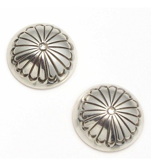 "Handcrafted 5/8"" Navajo Sterling Silver Button Earrings - CA128QD4LHR"