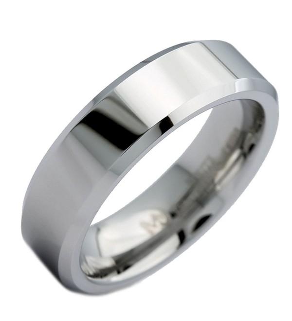 MJ 6mm White Tungsten Carbide Mirror Polished With Beveled Edges Wedding Band Ring - CQ12MEM8QIB