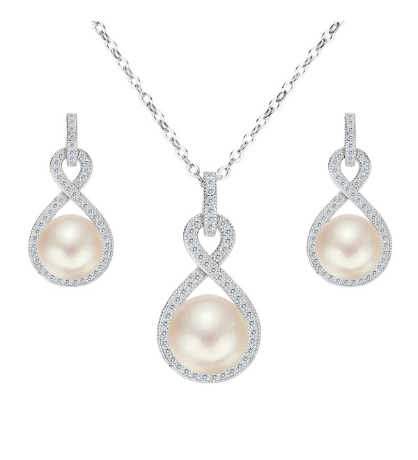 EleQueen 925 Sterling Silver CZ AAA Button Cream Freshwater Cultured Pearl Bridal Jewelry Necklace Earrings Set - C112GOS6YM1