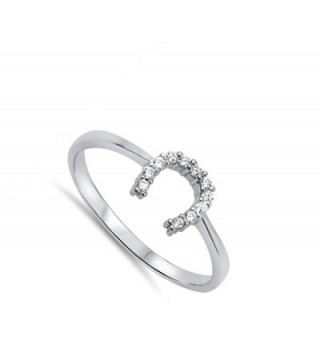 Horseshoe Unique Sterling Silver RNG14261 7 in Women's Band Rings