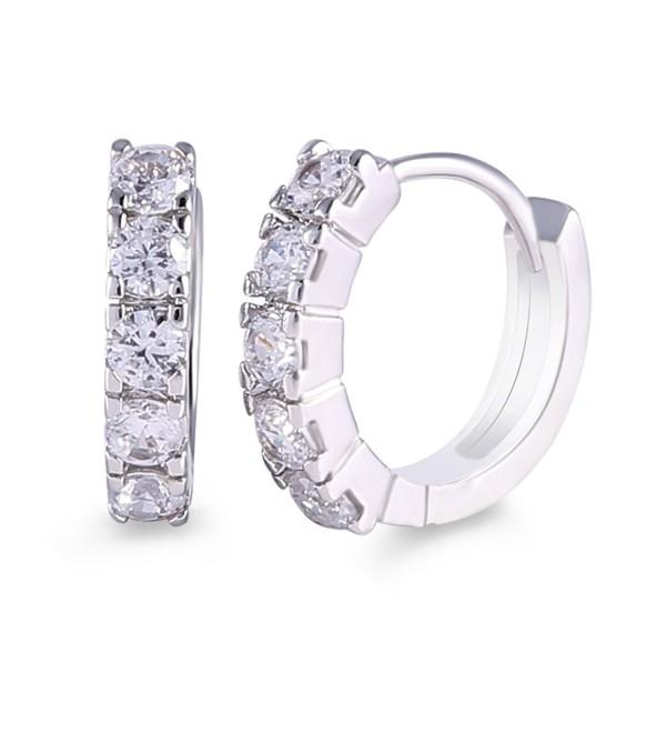 GULICX Silver Tone Simple White Rhinestone Sparkle Women Huggie Hoop Earring - CM11A0P4GNN