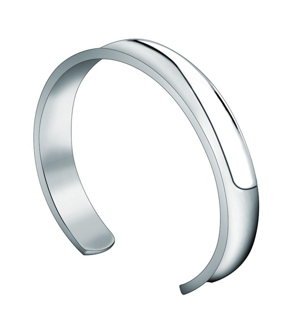 WUSUANED 10mm Stainless Steel Groove Cuff Bracelet Bangle for Women Men - 10mm silver - CM1883RSHYA