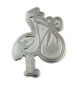 PinMart's Silver Plated Stork Baby Shower Lapel Pin - CT11MHZLI2R
