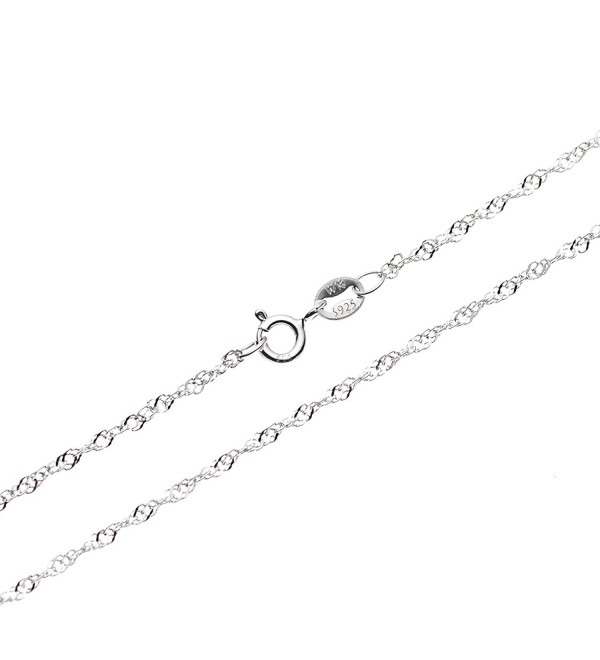 "SWEETV 925 Sterling Silver 1mm Singapore Chain Necklace Italian Jewelry w/ Spring Ring Clasp- 16"" - 30"" - CP17YQHNOYS"
