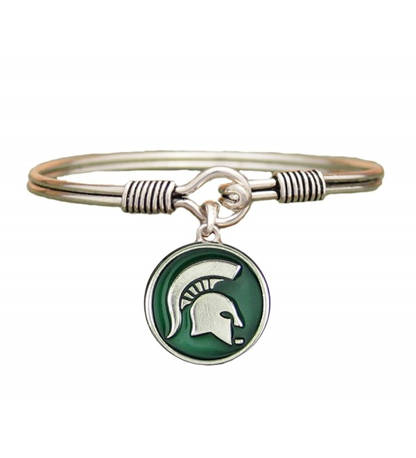Michigan State Spartans Green Translucent Enamel Disc Wire Bracelet Jewelry MSU - CB12561PFZJ