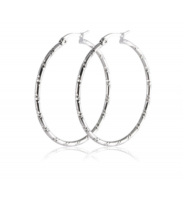 Stainless Steel Womens Rounded Silver Hoop Earrings Pierced Sparkly Bamboo Pattern - C812DTSKJJD